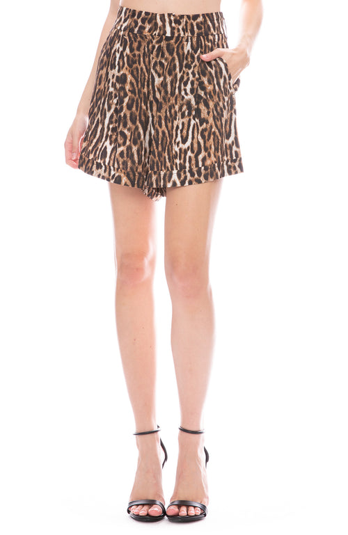 R13 Pleated High Rise Leopard Shorts