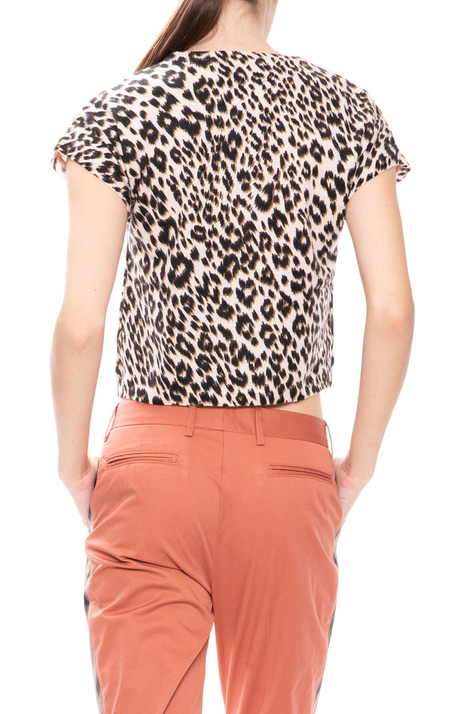 Le Superbe Frances Leopard Sweater Tee in Shell Pink at Ron Herman