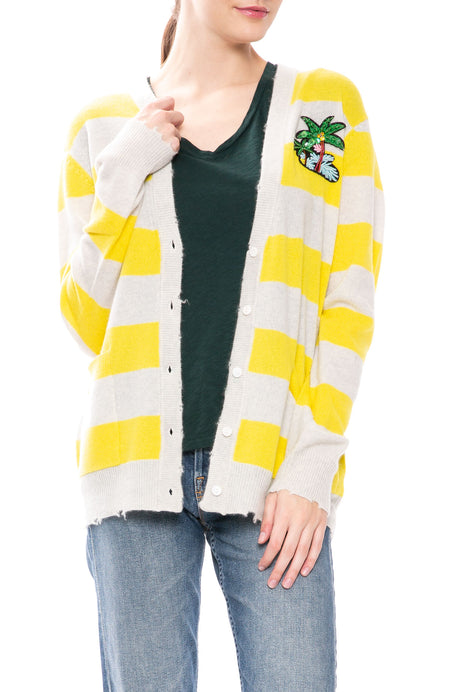 Striped Cashmere Cardigan with Palm Tree Patch