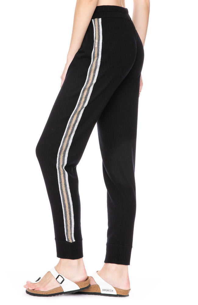 Cashmere Blend Metallic Stipe Sweatpants