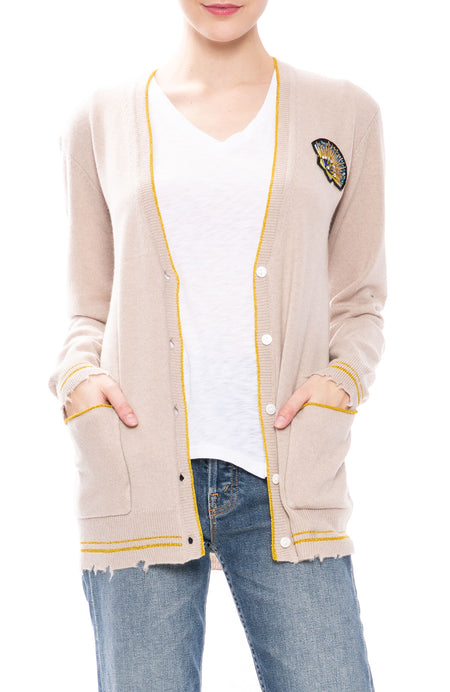 Cashmere BF Cardigan with Shell Patch