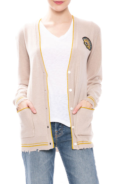 Le Superbe Cashmere BF Cardigan with Shell Patch at Ron Herman