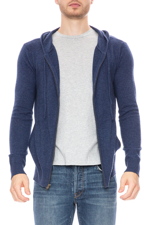 Ron Herman Exclusive Cashmere Zip Hoodie in Poseidon Blue