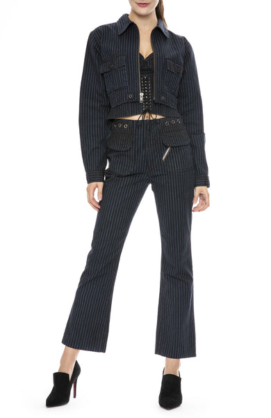 Jean Atelier Monica Pinstripe Corset Top with Pinstripe Pants and Jacket