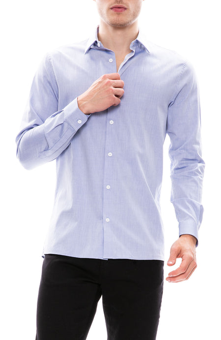 Faux Plain Weave French Collar Shirt