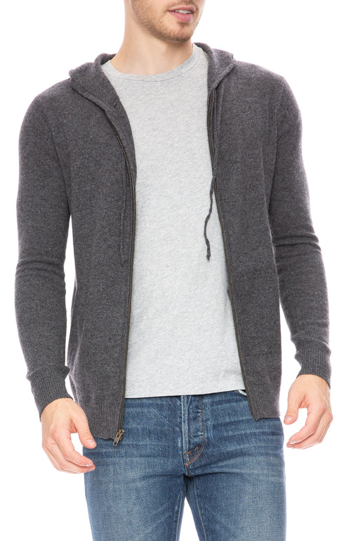 Ron Herman Exclusive Cashmere Zip Hoodie in Charcoal