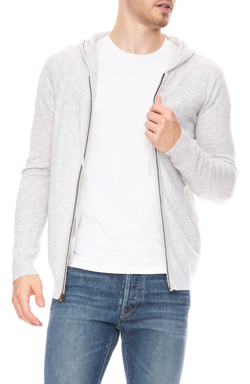 Ron Herman Exclusive Cashmere Zip Hoodie in Magneto Light Grey