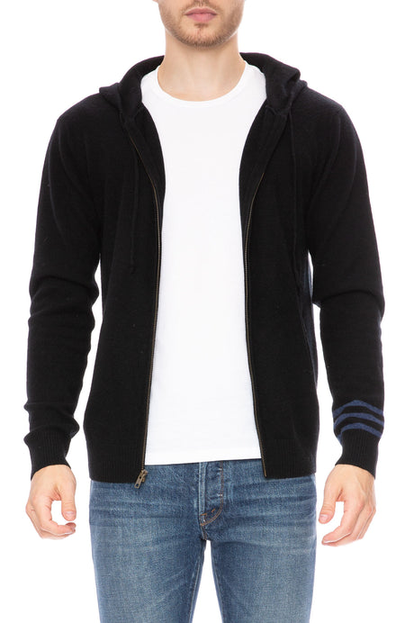 Exclusive Striped Sleeve Cashmere Hoodie