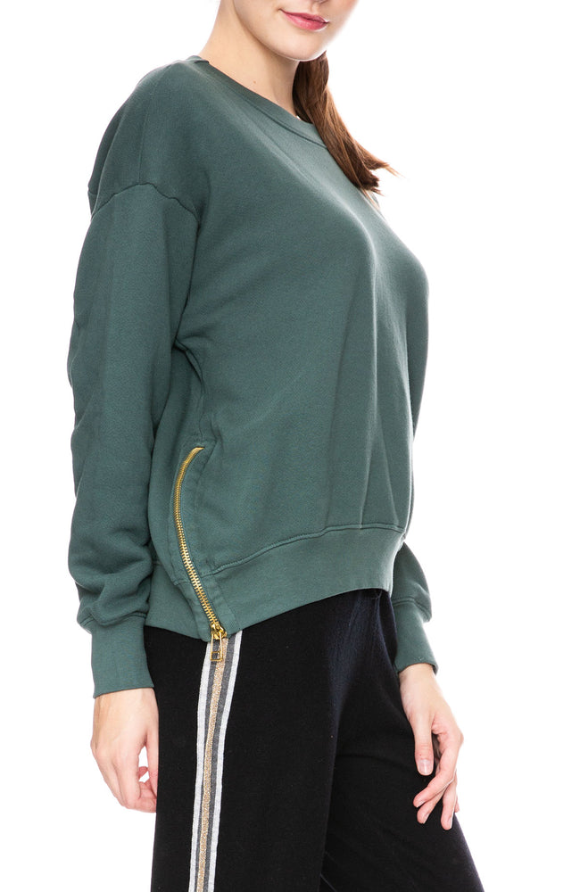 Sundry Side Zipper Sweatshirt in Sea Green at Ron Herman