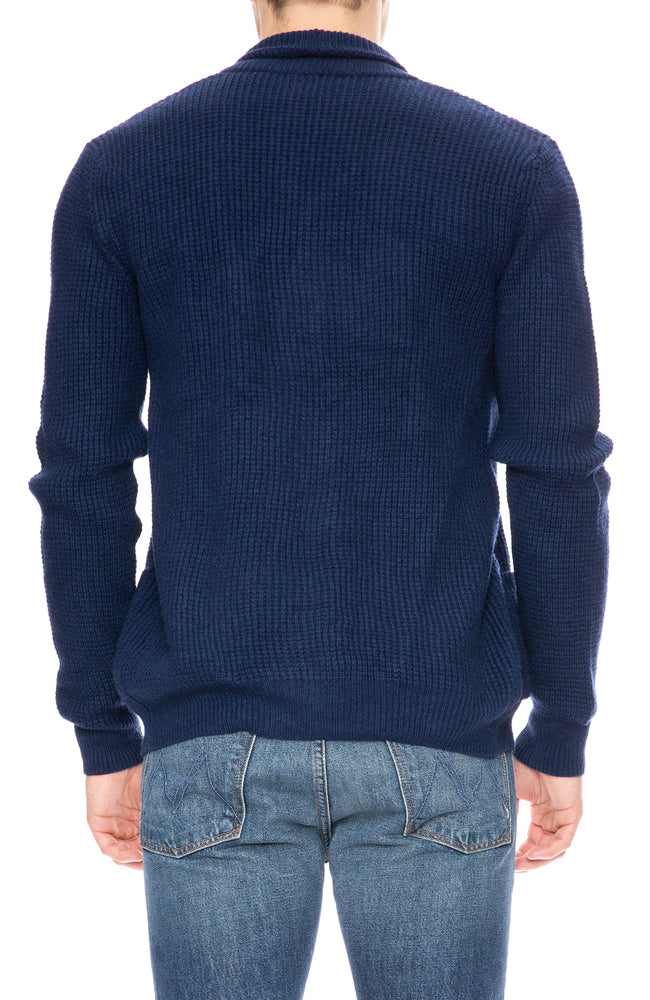Ron Herman Exclusive Cashmere Waffle Cardigan in Dark Navy