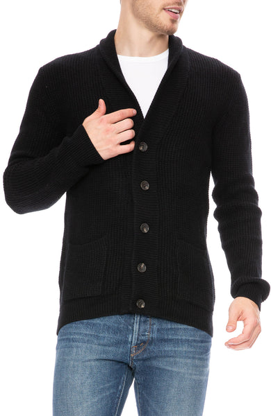 Ron Herman Exclusive Cashmere Waffle Cardigan in Black