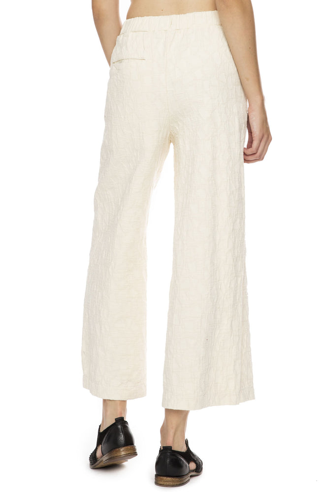 Black Crane Jacquard Pant in Cream