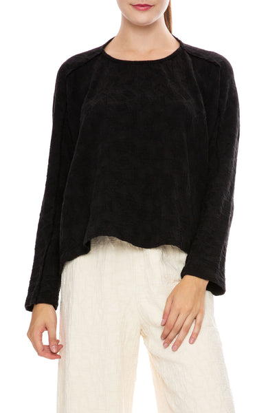 Black Crane Jacquard Top in Black