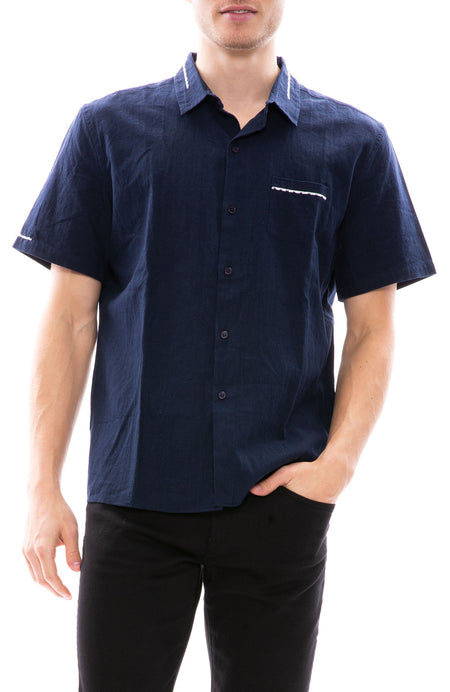 Short Sleeve Linen Shirt with Embroidery