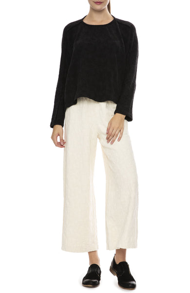 Black Crane Jacquard Top in Black with Jacquard Pants in Cream