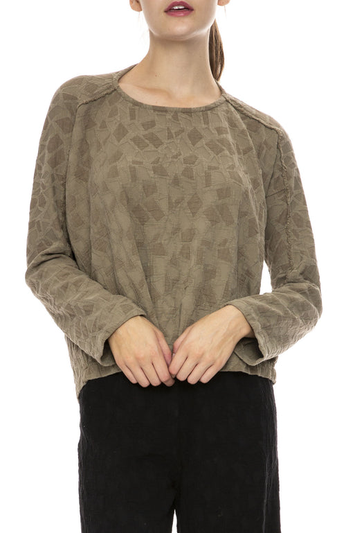 Black Crane Jacquard Top in Sand