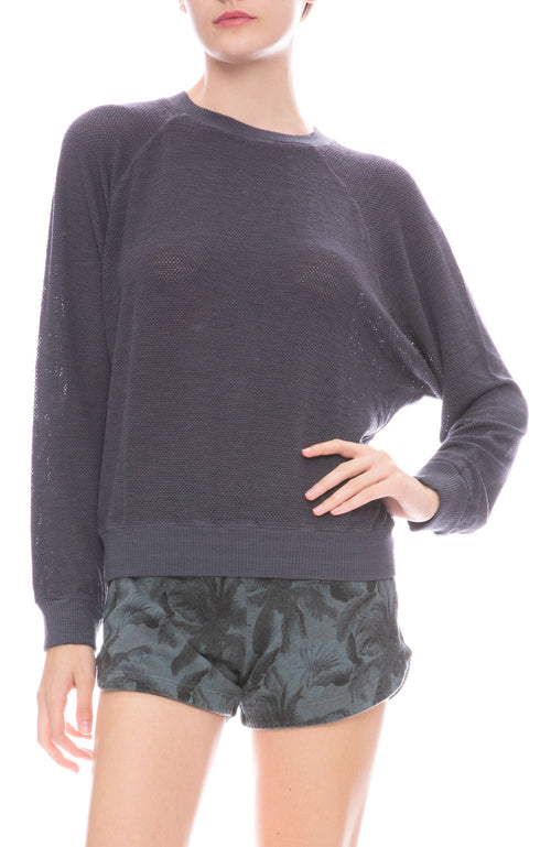 Monrow Supersoft Mesh Raglan Sweatshirt in Vintage Black