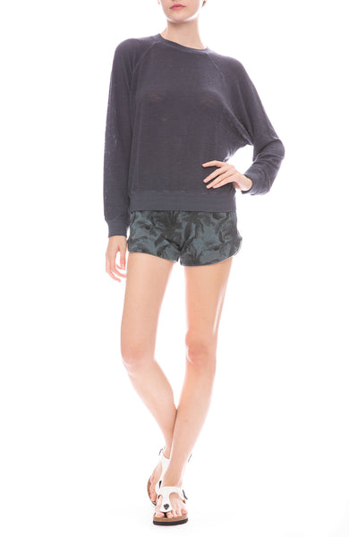 Monrow Palm Print Lounge Shorts and Pullover Mesh Sweatshirt