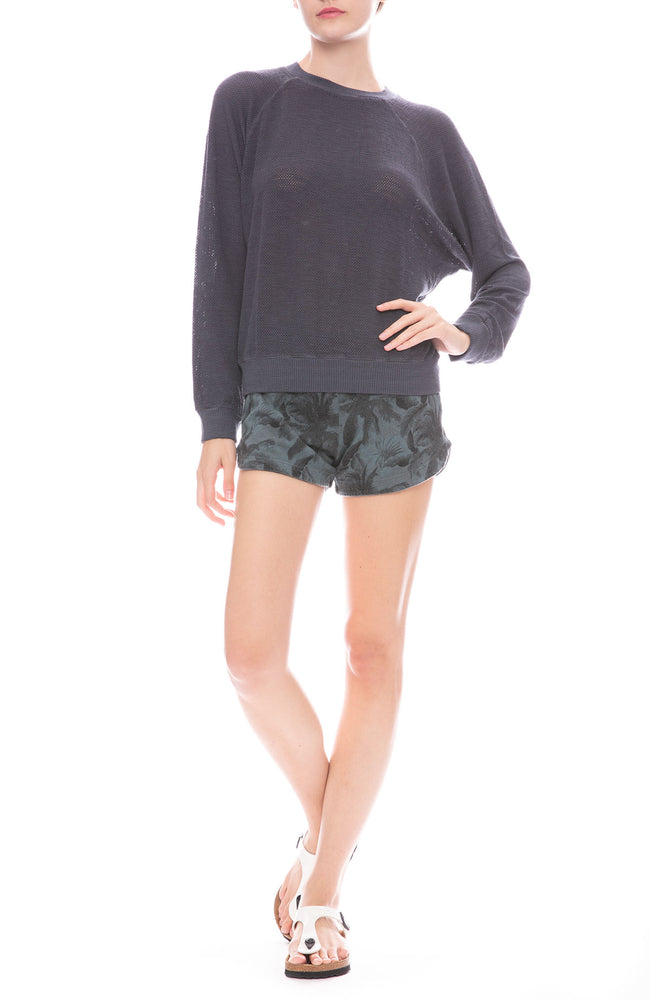 Monrow Supersoft Mesh Raglan Sweatshirt with Palm Print Sweatshorts