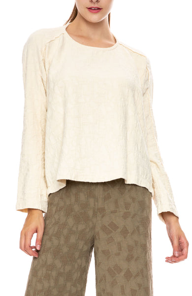 Black Crane Jacquard Top in Cream