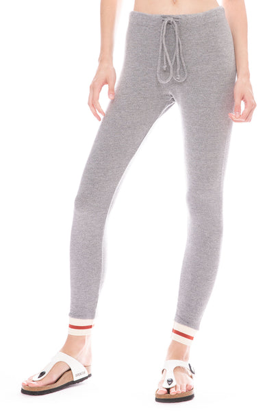 Monrow Skinny Sweatpants with Elastic STRIPED Cuffs in Dark Heather