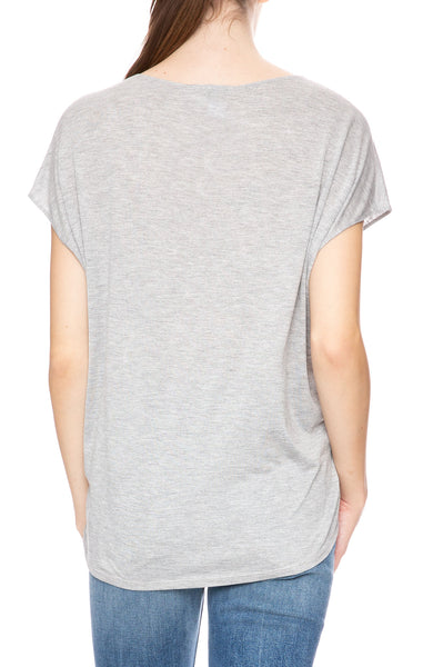 Beautiful People Sleeveless V-Neck Top in Heather Grey at Ron Herman