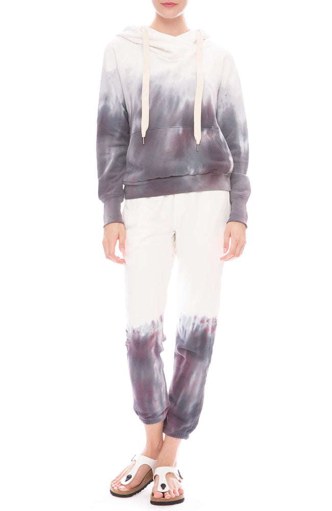 NSF Sayde Tie-Dye Slouch Sweatpants and Sweatshirt in Orchid Dye