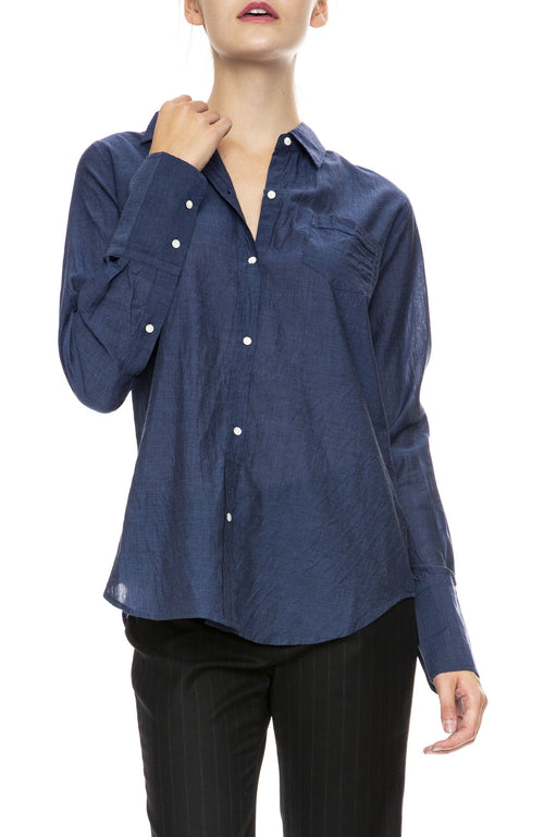 Nili Lotan NL Button Down Shirt in Dark Blue