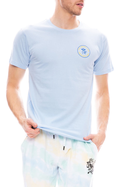 The Quiet Life Shhh Circle Short Sleeve Tee in Light Blue