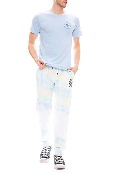 The Quiet Life Jose Tie Dye Jogger Pants with Light Blue Shhh Circle Tee