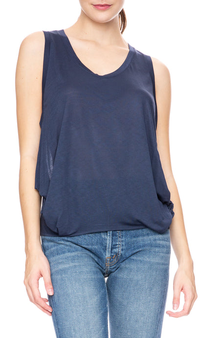 Silk Back Round Neck Tank with Side Draping