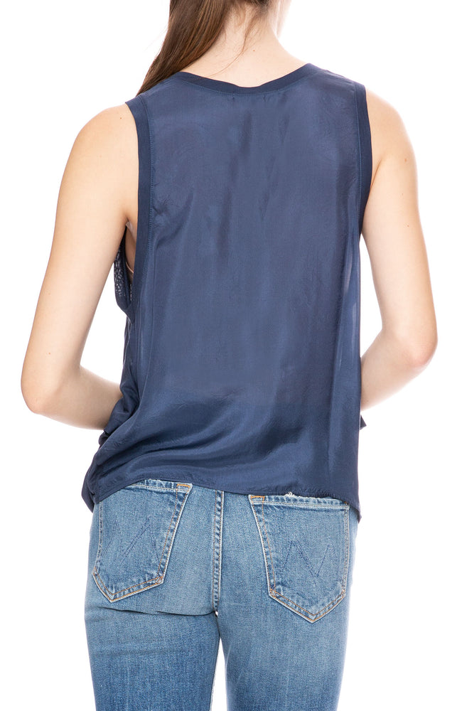 Beautiful People Silk Back Tank with Side Draping in Navy at Ron Herman