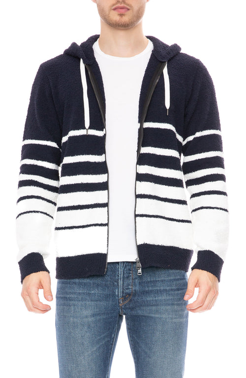 Seagreen Kikito Stripe Terry Hoodie in Navy/White at Ron Herman