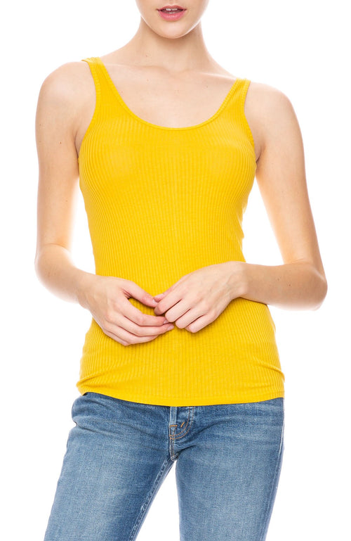 Beautiful People Scoop Neck Ribbed Tank in Yellow at Ron Herman