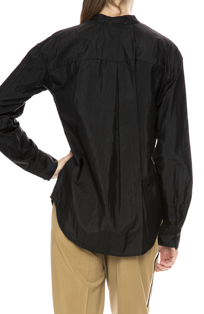 Forte Forte Silk Taffeta Grandfather Shirt in Nero