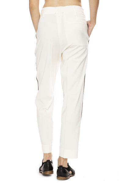 Forte Forte Wool Dress Pants with Side Ribbon Tape in Bianco