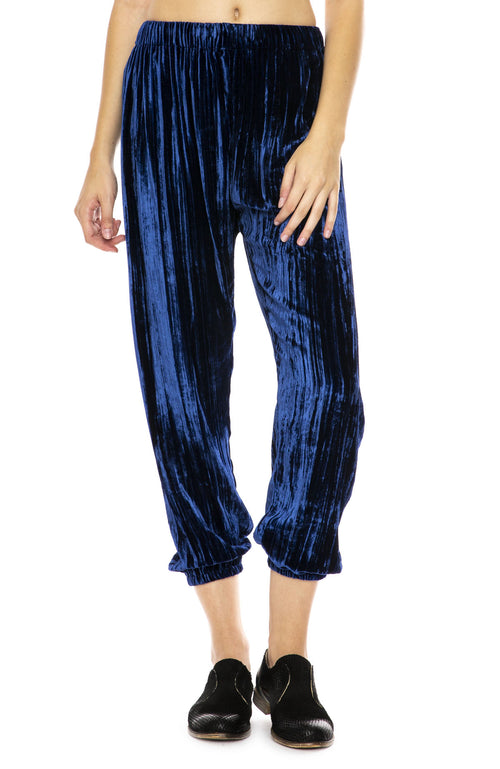 Forte Forte Pleated Velvet Pants in Bluette