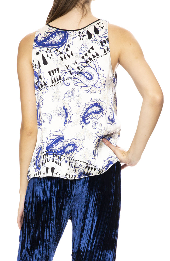 Forte Forte Afrika Print Satin Silk Top in Bluette