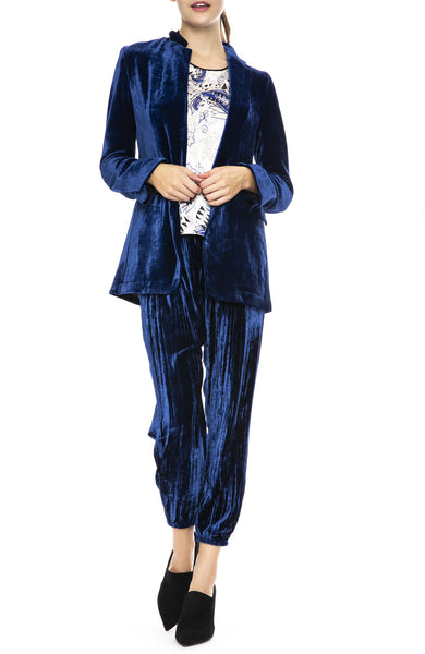 Forte Forte Velvet Jacket in Bluette with Velvet Pants and Silk Print Top