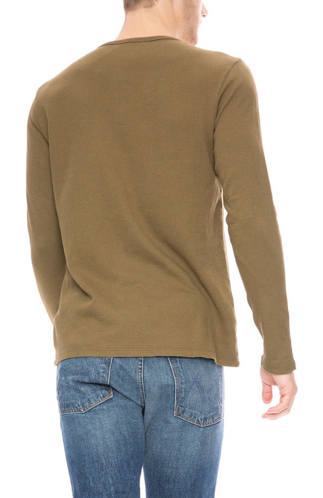 Frame Long Sleeve Henley in Caper Green at Ron Herman