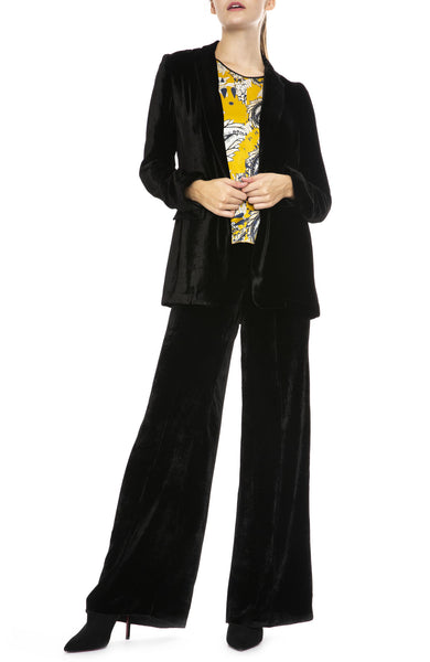 Forte Forte Velvet High Waist Pants in Nero with Velvet Blazer and Print Top