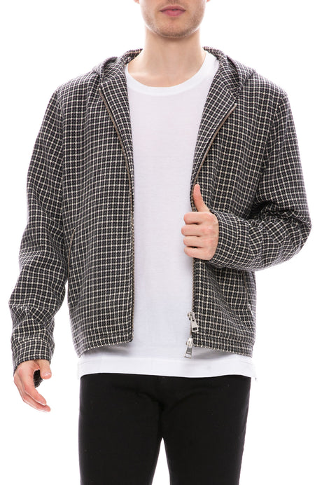 Zip Through Plaid Jacket