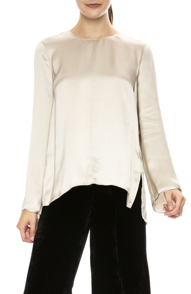 Forte Forte Fluid Satin Round Neck Top in Corda