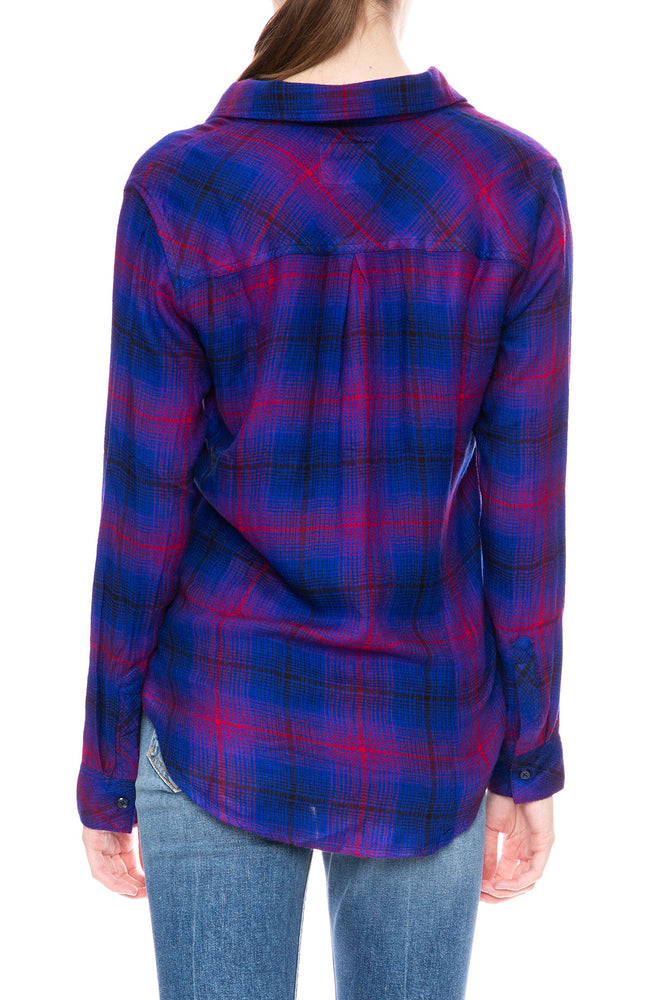 Rails Hunter Button Down Shirt in Azure Scarlet Plaid at Ron Herman