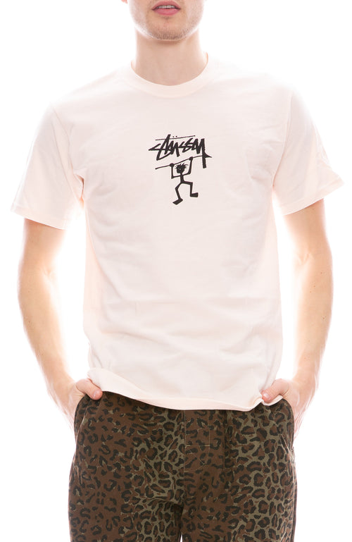 Stussy Mens Warrior Man Short Sleeve T-Shirt in Pale Pink