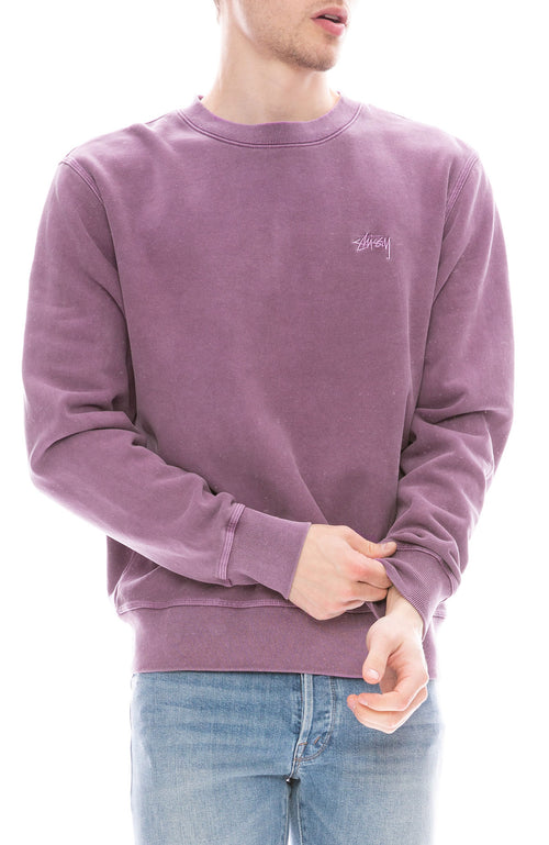 cf5d8bb3b Stussy Mens Stock Logo Pullover Crew Neck Sweatshirt in Purple