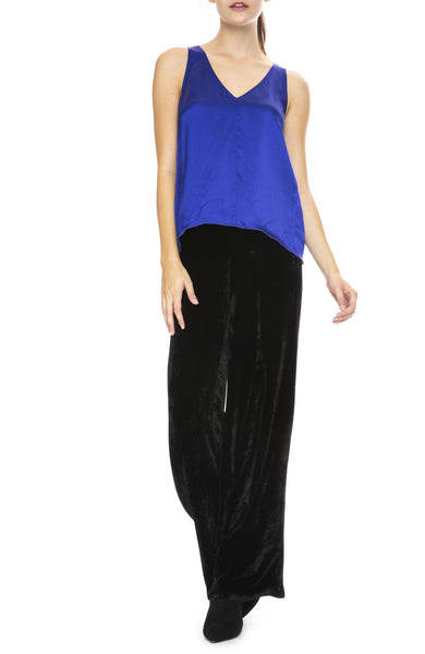 Forte Forte Fluid Satin Top in Bluette with Velvet Pants