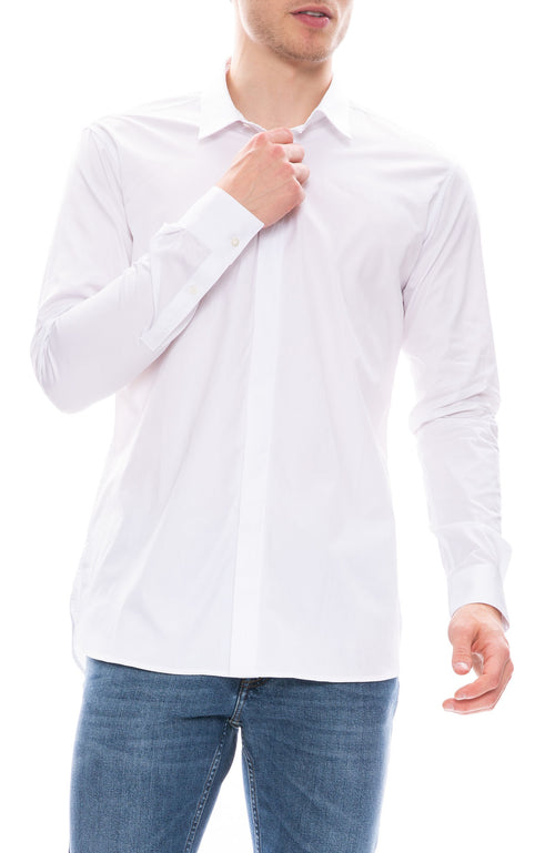 IRO Mens Hidden Placket Dress Shirt in White at Ron Herman