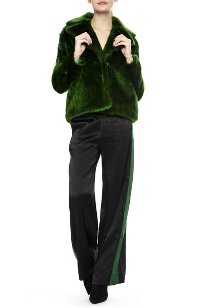 Frame Womens Satin Track Pants with Frame Emerald Faux Fur Jacket