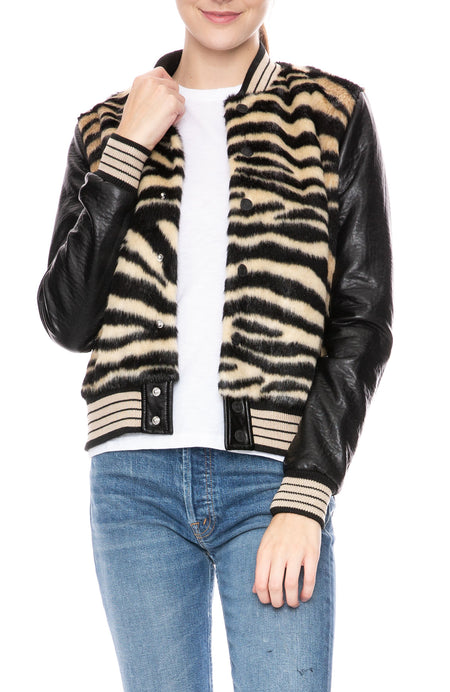 Faux Fur Varsity Jacket